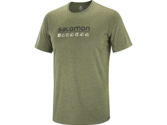 Salomon Agile T-shirt met Print Heren, olive night/martini olive/heather